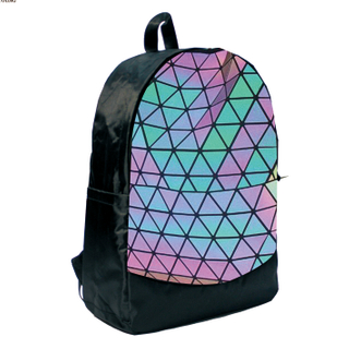 high quality reflective grid material Girls fashion backpack