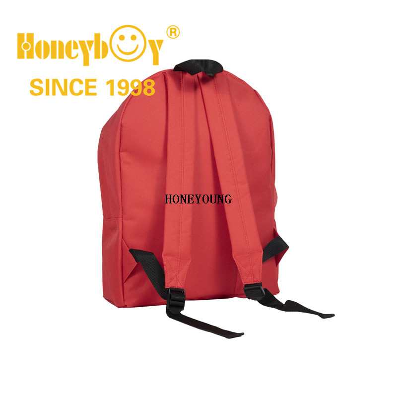 Lightweight Red Color 600D Polyester Factory Promotional School Bag