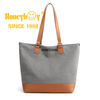 Large Womens Canvas Beach with Leather Handle