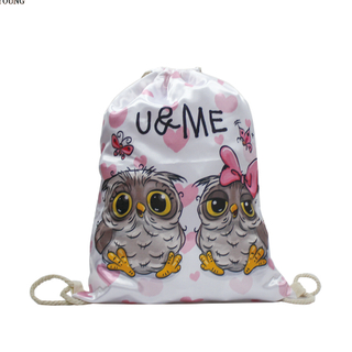 Owl Printing Silk Fabric Drawstring Backpack Girls HY-K007