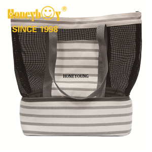 Gray Cooler Canvas Shopping Bag with Compartment HY-L016