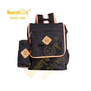 Stylish Custom Soft Denim School Backpack Set