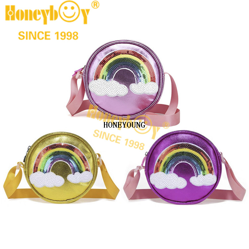 Fashion Girls Rainbow Pattern Pu Children Bag