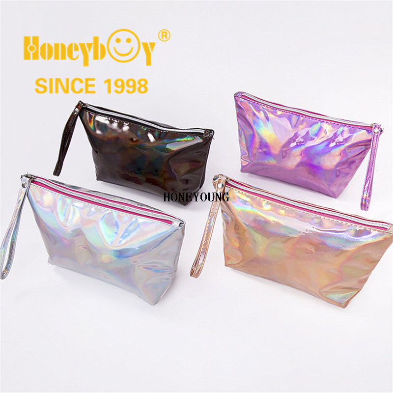 Fashion Custom Silver Ladies Zipper Cosmetic Pu Bag